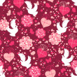 Valentine seamless pattern with hearts and doves - Stock Vector