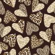 Seamless background with hearts with animal skin pattern — Imagens vectoriais em stock