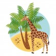 Illustration with giraffe and palm — Stock Vector #5263423
