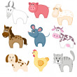 Set of funny cartoon pets — Stock Vector