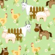 Stock Vector: Village style seamless pattern with goats, horses and chickens