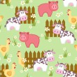 Country style seamless pattern with goat, pig and chicken - Stock Vector