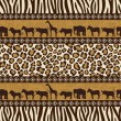 African style seamless pattern with wild animals - Stock Vector