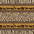 Stock Vector: African style seamless pattern with wild animals