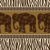Seamless patterns with elephants and zebra skin — Stock Vector