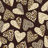 Seamless background with hearts with animal skin pattern — Stock Vector