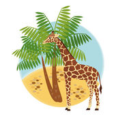 Illustration with giraffe and palm — Stock Vector