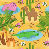 Finny repeated background with African animals — Stockvector