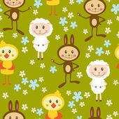 Seamless pattern with lamb, rabbits and chickens — Stock Vector