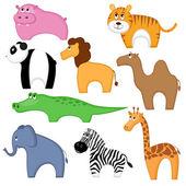 Set of funny cartoon animals — Stock Vector