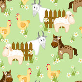 Village style seamless pattern with goats, horses and chickens — Stock Vector