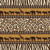 African style seamless pattern with wild animals — Stock Vector