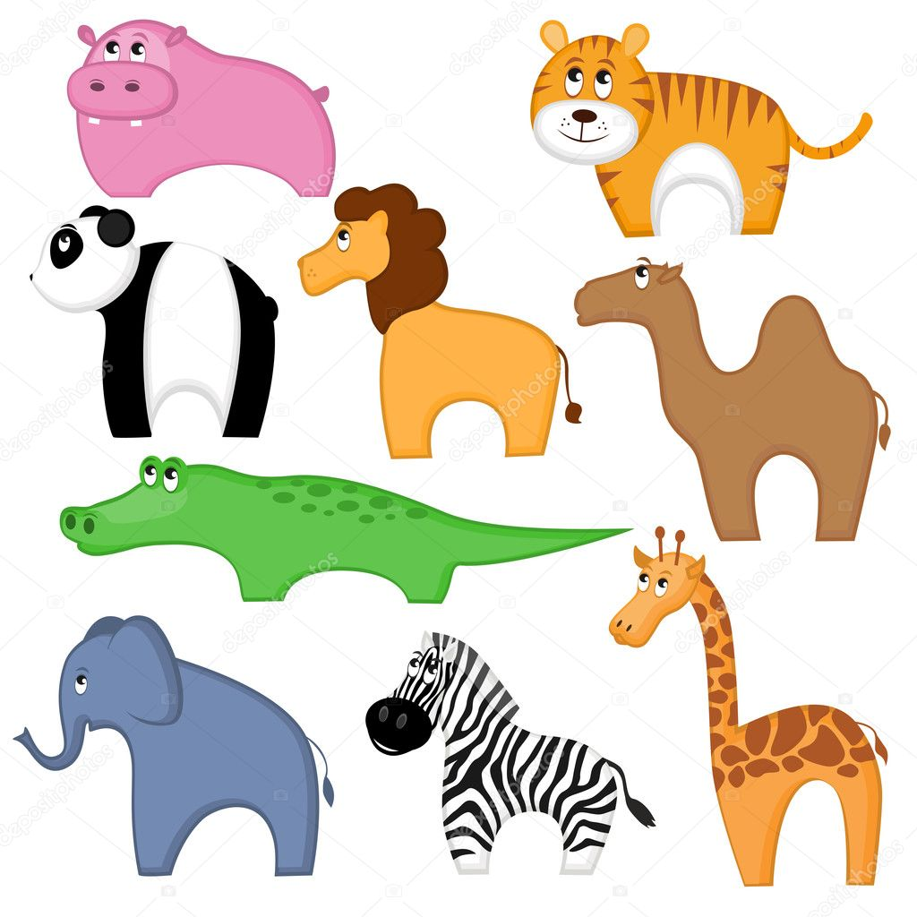 Set of funny cartoon animals — Stock Vector #5263675