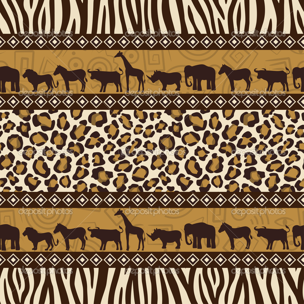 African style seamless pattern with wild animals — Stock Vector #5263790