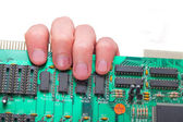 Microcircuit on a hand — Stock Photo