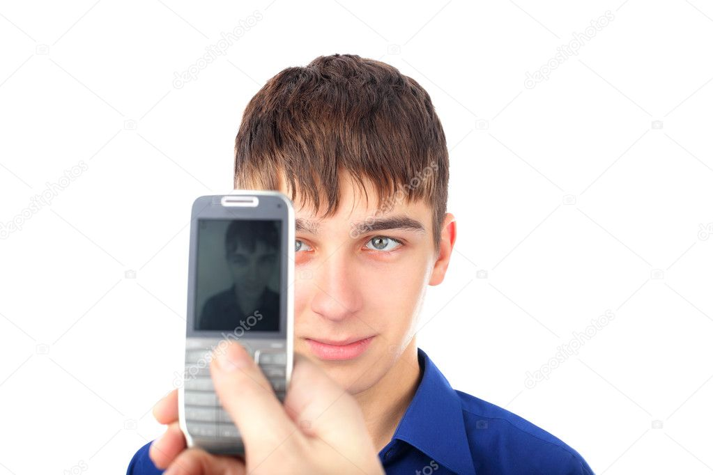 The teenager photograph on a mobile phone — Stock Photo #5110285
