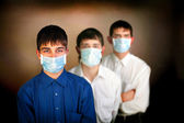 Teenagers in the mask — Stock Photo