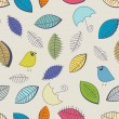 Seamless pattern with cute birds and leaves -  