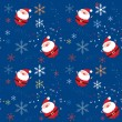 Seamless xmas pattern with santa and snowflakes -  