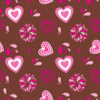 Vintage seamless background with hearts and flowers - Imagens vectoriais em stock