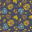 Seamless pattern with hearts and flowers -  