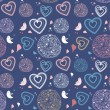 Seamless pattern with birds and hearts -  