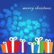 Stock Vector: Christmas card with multicolored gift boxes on blue background