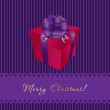 Royalty-Free Stock Vector Image: Christmas card with gift box on violet background