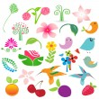 Stock Vector: Big vector elements set. Birds, fruits and flowers for your design