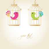 Cute birds in golden cages — Vector de stock