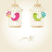 Mignons oiseaux en cage dorée — Vecteur
