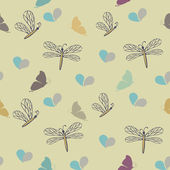 Seamless pattern with dragonflies and butterflies — Stock Vector