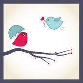 Carte de vecteur mignon avec couple d'oiseaux — Vecteur