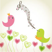 Greeting card with cute birds couple in love — Stock Vector