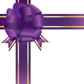 光沢のある紫お祝い弓のベクトル イラスト — ストックベクタ