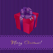 Christmas card with gift box on violet background — Stock Vector
