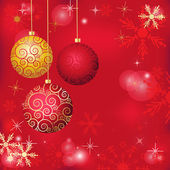 Christmas poster with abstract snowflakes background and three golden balls — Vector de stock