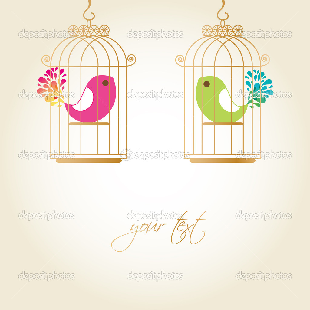 Cute birds in golden cages   Vektorgrafik #4083316