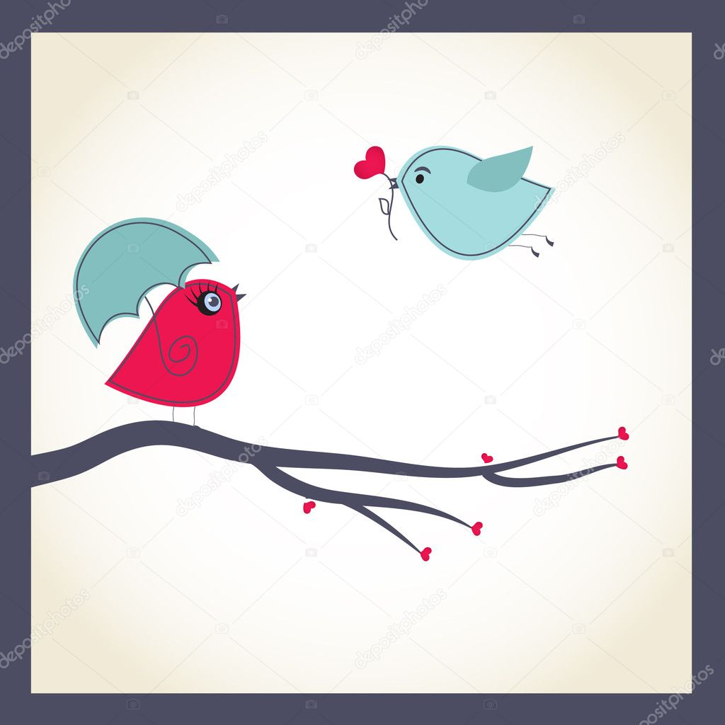 Cute vector card with birds couple  — Stock Vector #4083323