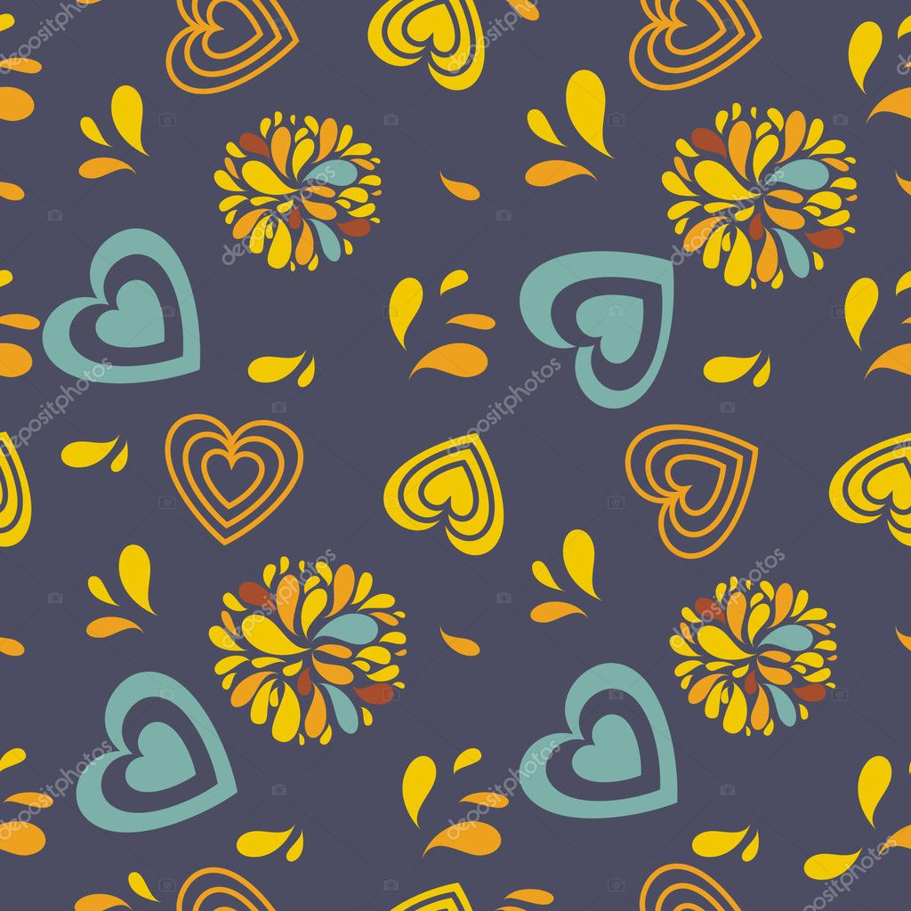 Seamless pattern with hearts and flowers   Stock Vector #4083895