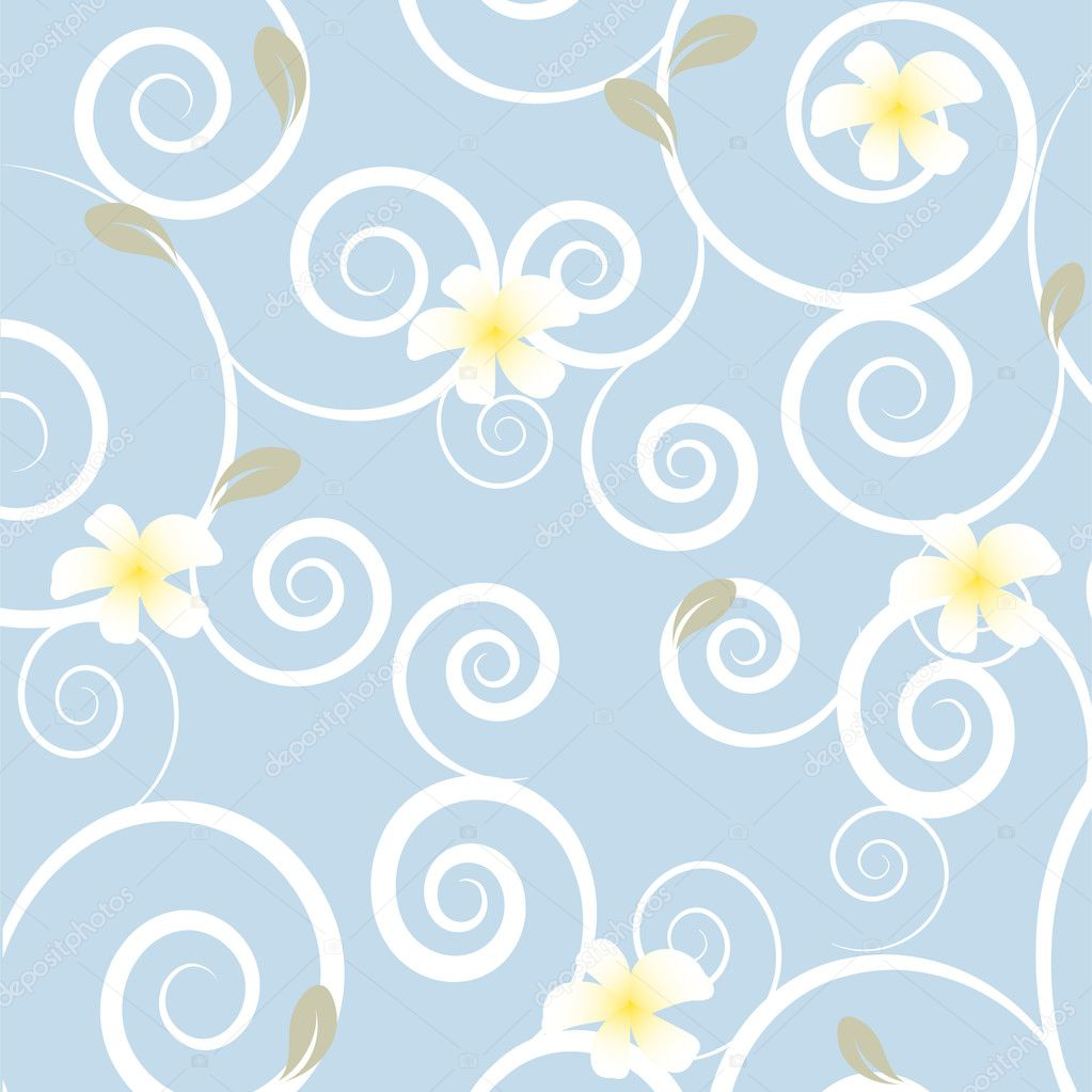 Floral seamless pattern floral card with white loral card with white frangipani flowers  flowers  — Stock Vector #4083973