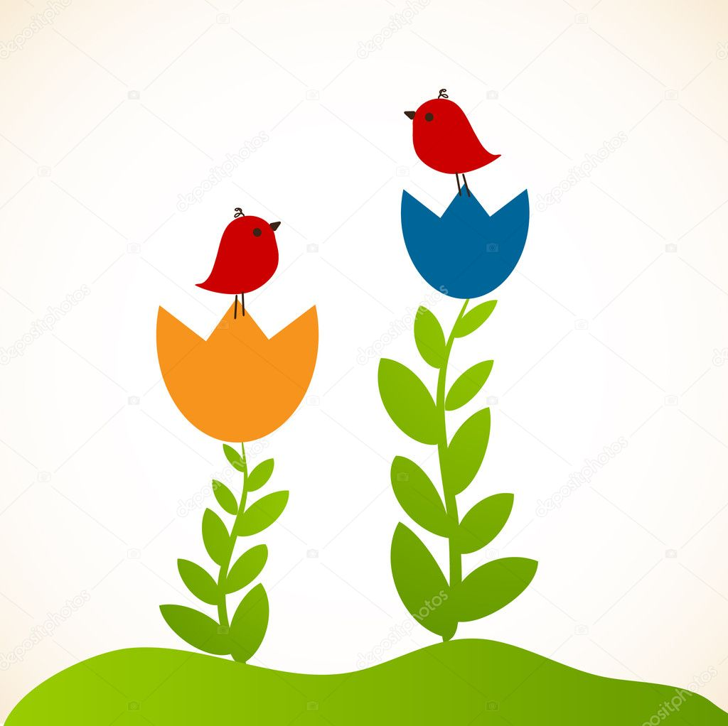 Illustration of two cute birds on the flowers  — Stock Vector #4085251