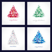 Set of four beautiful christmas cards with abstract trees. — Stock Vector