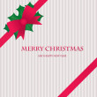 Christmas card with holly berry and red bow - Stock vektor