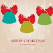 Vintage christmas card with  bells and red bows - Image vectorielle
