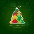 Christmas tree from jigsaw puzzle — Stock Vector