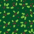 Seamless background with holly berry and snowflakes - 图库矢量图片
