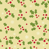 Seamless background with holly berry and snowflakes — Stock Vector