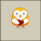 Cute bird with heart — Stock Vector