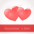 Vintage valentine card with cute hearts — Stock Vector